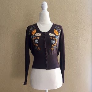 Persaman petite cardigan with embroidery